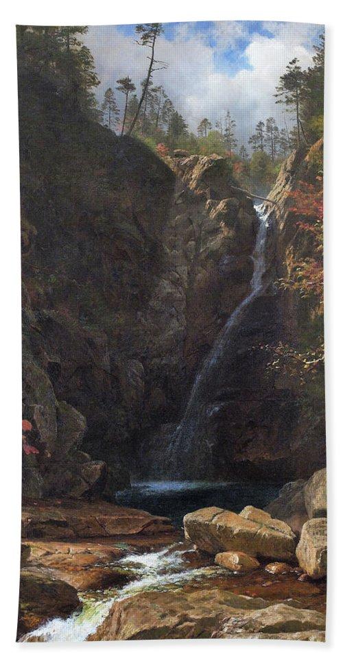 Glen Ellis Falls Hand Towel featuring the painting Glen Ellis Falls - Digital Remastered Edition by Albert Bierstadt
