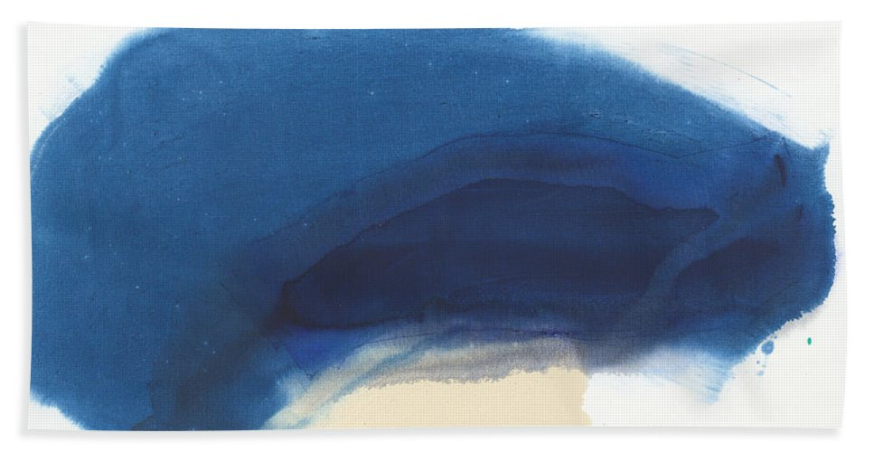 Abstract Hand Towel featuring the painting Go Easy by Claire Desjardins