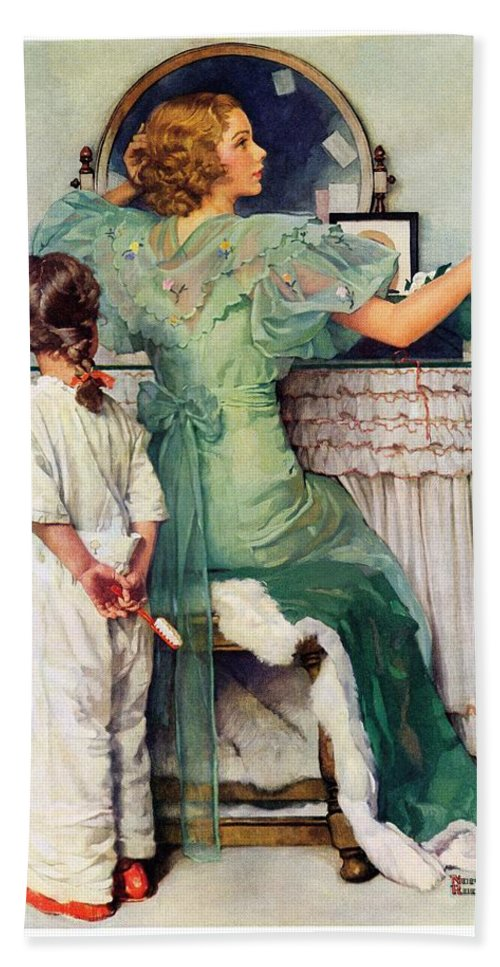 Dressing Tables Bath Towel featuring the drawing Going Out by Norman Rockwell