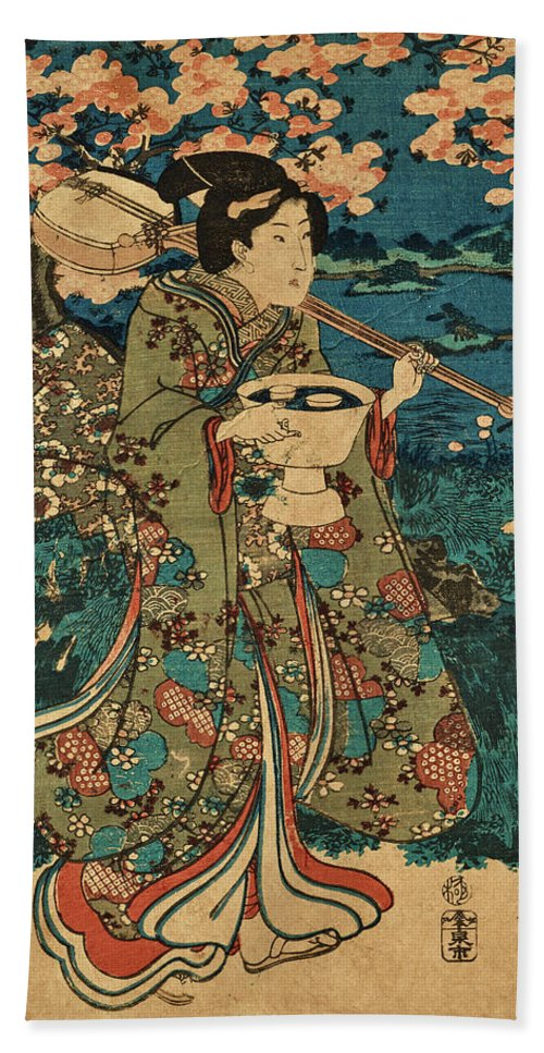 Party Bath Towel featuring the painting Going To A Cherry Blossom Viewing Party by Utagawa Kunisada