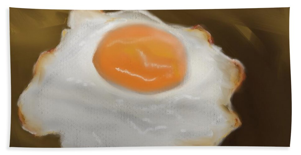 Eggs Bath Towel featuring the pastel Golden Fried Egg by Fe Jones