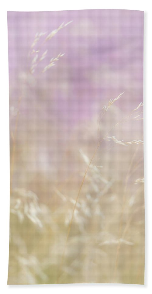 Nature Bath Sheet featuring the photograph Golden Grasses And Purple Heather Swaying In The Breeze by Anita Nicholson
