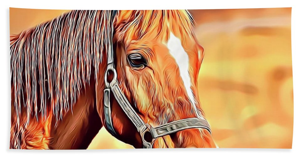 Horse Bath Towel featuring the digital art Golden Horse by Russell Carter