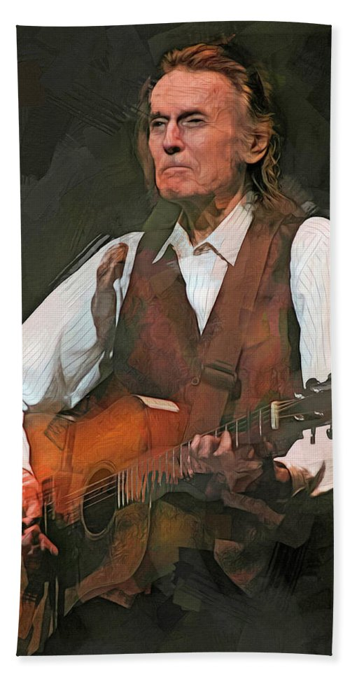 Gordon Lightfoot Hand Towel featuring the mixed media Gordon Lightfoot by Mal Bray
