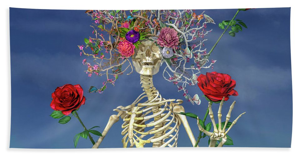 Skeleton Hand Towel featuring the digital art Grateful Greetings And Good Times by Betsy Knapp