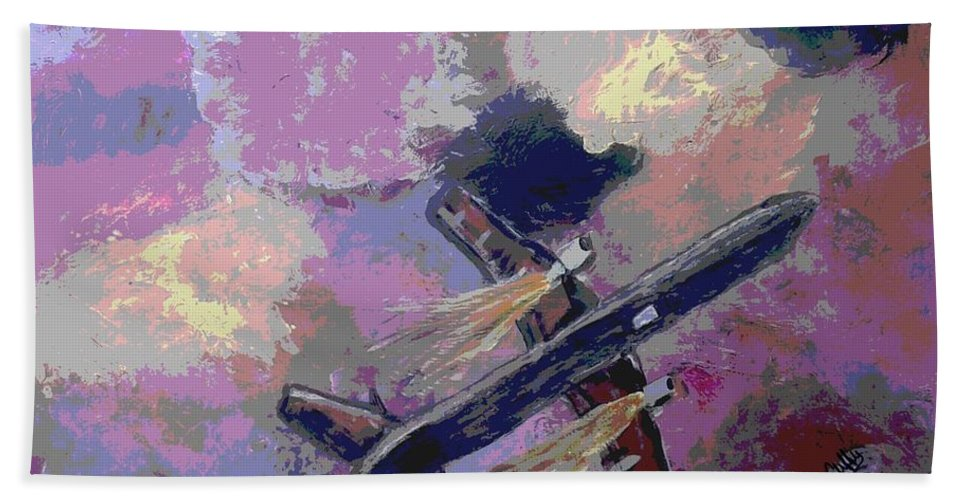 Airplane Flight Movement Flying Hand Towel featuring the painting Great Escape by Cliff Weatherspoon