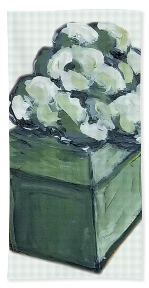 Present Bath Towel featuring the painting Green Present by Maria Langgle