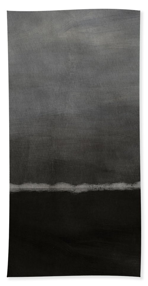 Abstract Bath Towel featuring the painting Grey Skies- Abstract Art by Linda Woods by Linda Woods