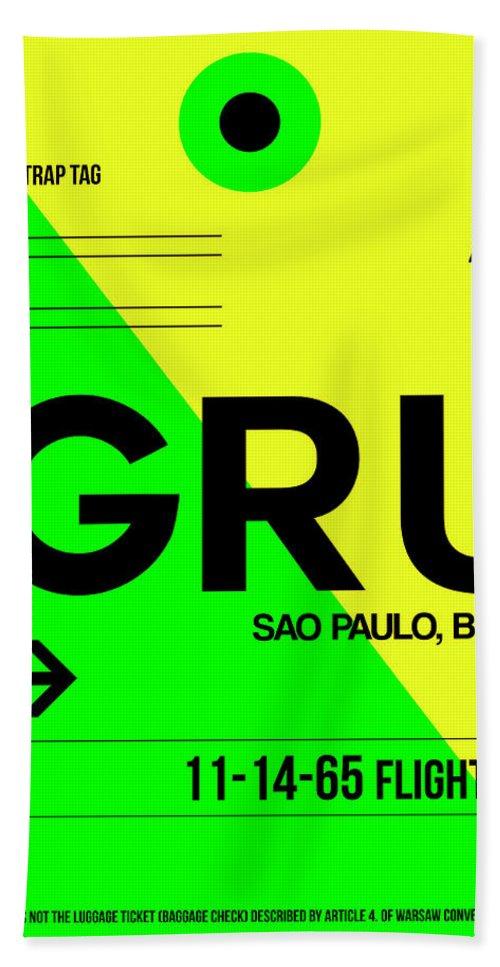 Vacation Hand Towel featuring the digital art Gru Sao Paulo Luggage Tag I by Naxart Studio
