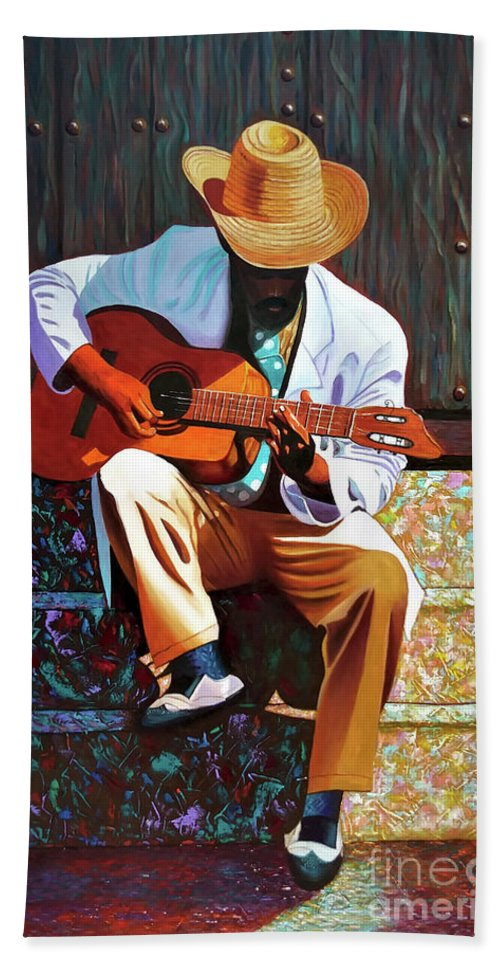 Cuban Bath Towel featuring the painting Guitar player #3 by Jose Manuel Abraham