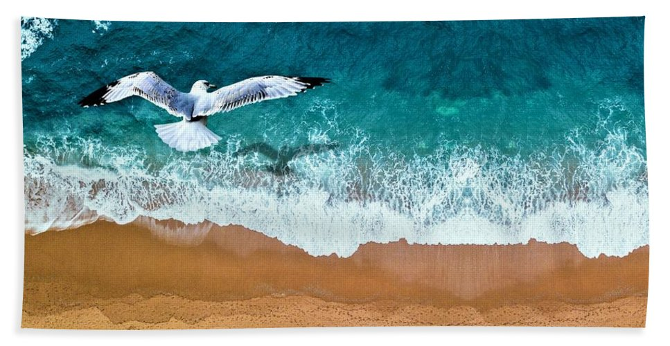 Gull Bath Towel featuring the painting Gull by ArtMarketJapan