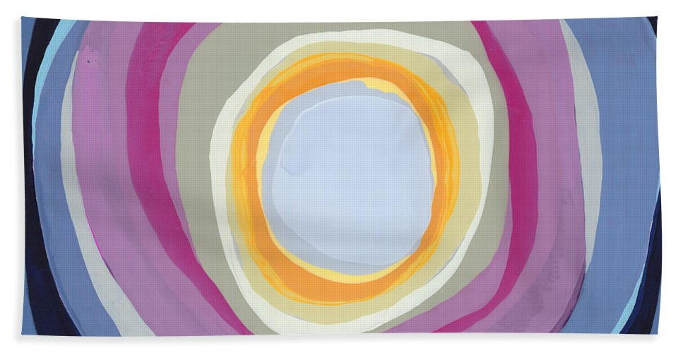Abstract Hand Towel featuring the painting Hang Cool by Claire Desjardins