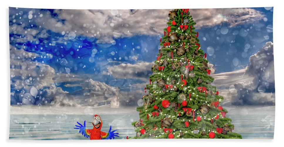Parrot Bath Towel featuring the digital art Happy Christmas Parrot by Betsy Knapp