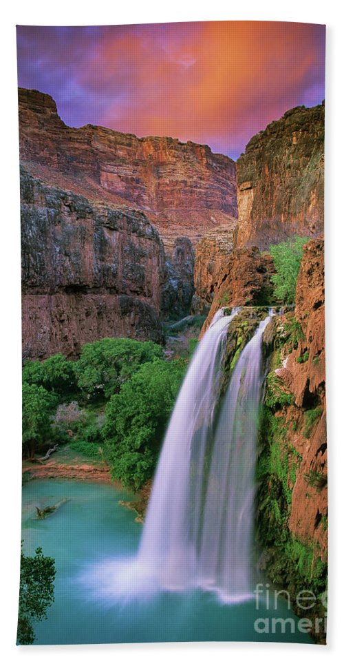 America Hand Towel featuring the photograph Havasu Falls by Inge Johnsson
