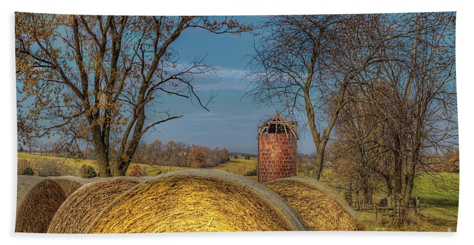 2014 Bath Towel featuring the photograph Hay Bales And Silo by Larry Braun