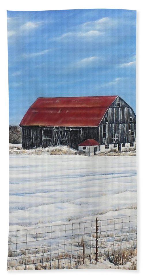 Old Barn Hand Towel featuring the painting Hewson Barn by Lisa Cini
