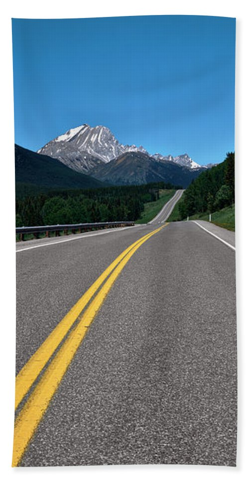 Photography Bath Towel featuring the photograph Highway With Mountain by Panoramic Images