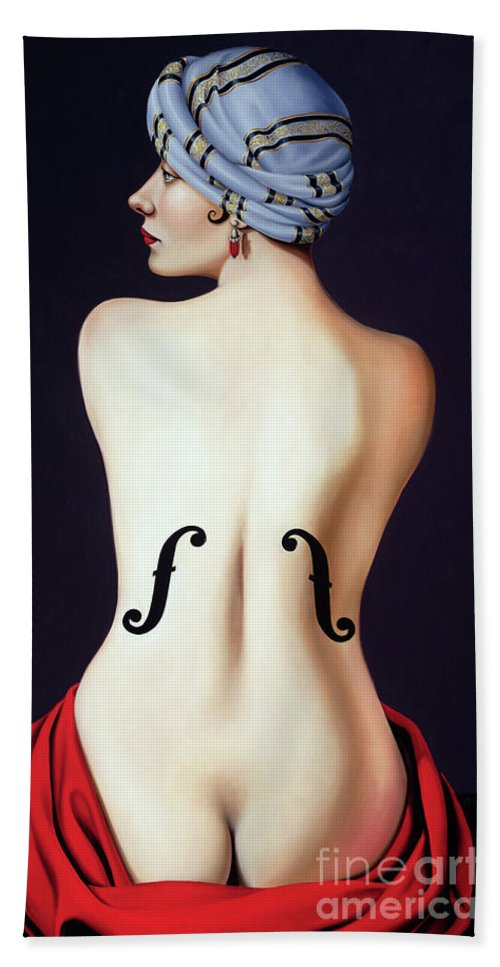 Nude Bath Towel featuring the painting Homage To Man Ray by Catherine Abel