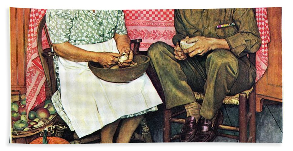 Kitchens Bath Towel featuring the drawing Home For Thanksgiving by Norman Rockwell