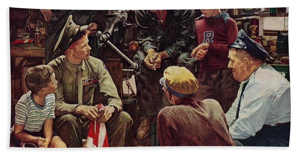 Flags Bath Towel featuring the drawing Homecoming Marine by Norman Rockwell