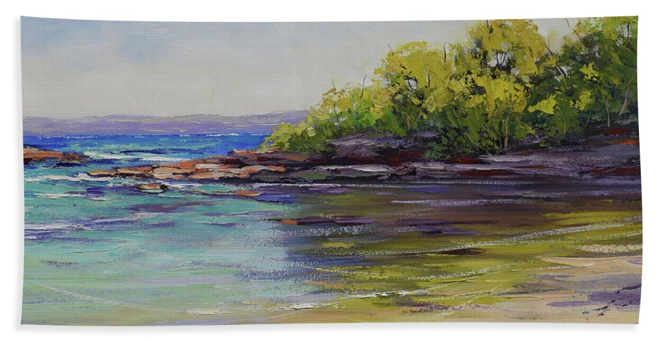 Beach Scenes Bath Towel featuring the painting Honeymoon Bay by Graham Gercken