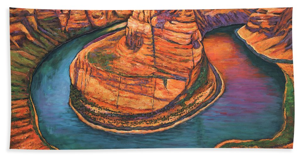 Arizona Bath Towel featuring the painting Horseshoe Bend Sunset by Johnathan Harris