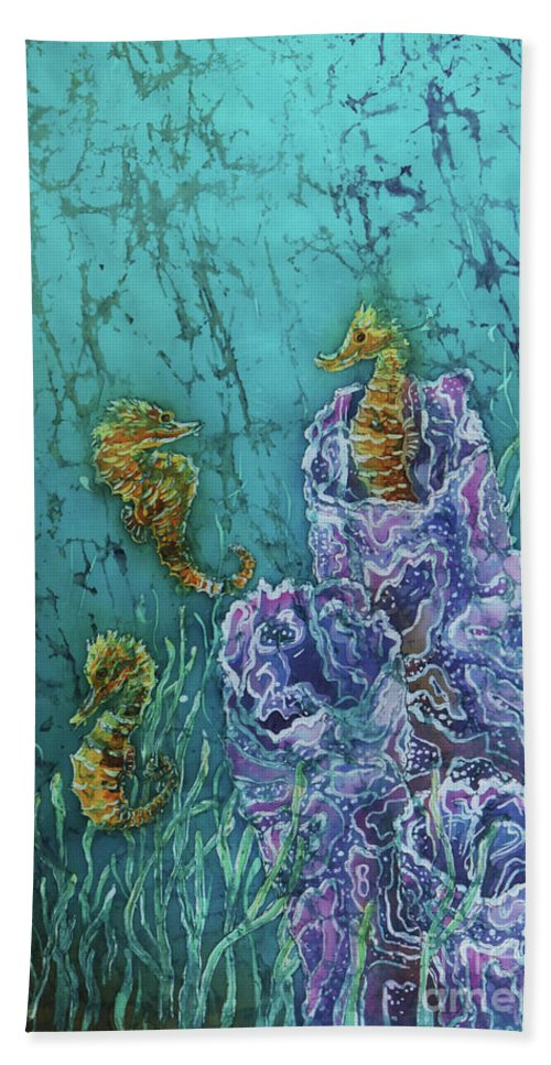Seahorses Bath Sheet featuring the tapestry - textile Horsin Around by Sue Duda