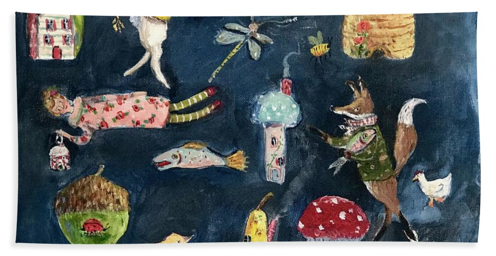 Pear Hand Towel featuring the painting Houses, Mostly by Julie Whitmore