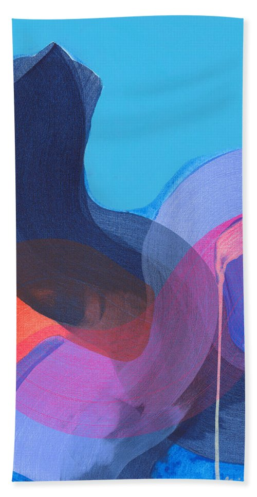 Abstract Bath Towel featuring the painting How Did It Get To Be So Late? by Claire Desjardins