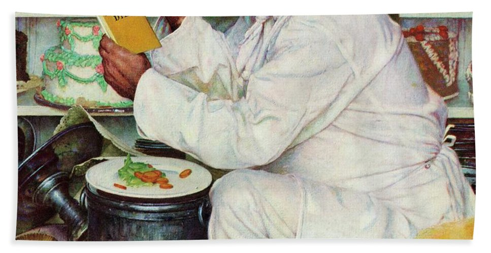 Bakers Bath Towel featuring the drawing How To Diet by Norman Rockwell