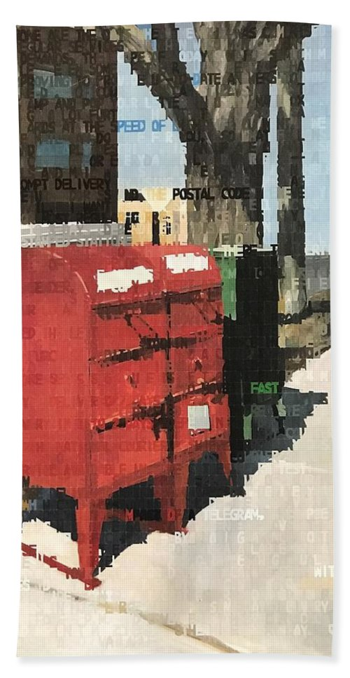 Mailbox Hand Towel featuring the painting How To Use The Mail by Norman Burnham