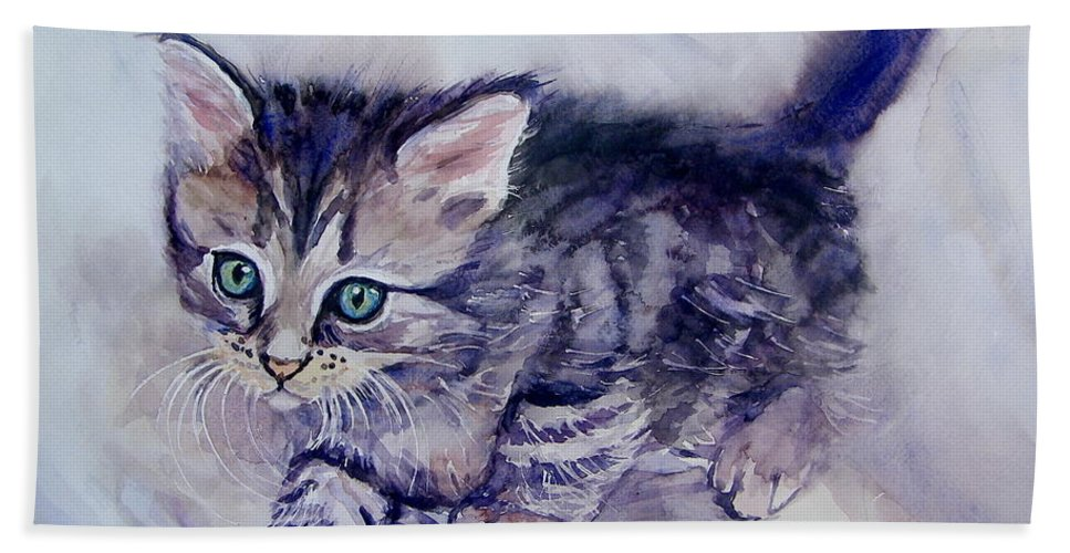 Little Hand Towel featuring the painting Hunting For A Mouse by Suzann Sines