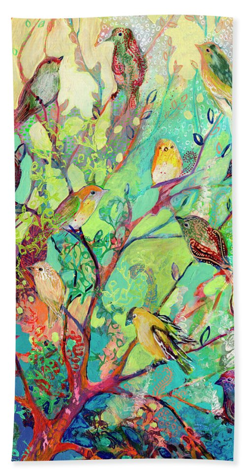Bird Hand Towel featuring the painting I Am the Place of Refuge by Jennifer Lommers