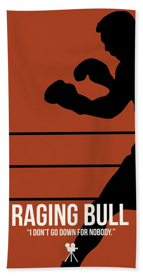 Raging Bull Bath Towel featuring the digital art I Don't Go Down For Nobody by Naxart Studio