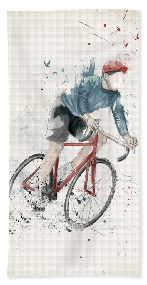 Bike Hand Towel featuring the mixed media I Want To Ride My Bicycle by Balazs Solti