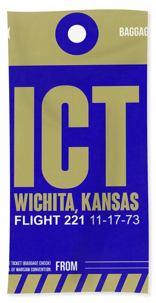 Vacation Hand Towel featuring the digital art Ict Wichita Luggage Tag II by Naxart Studio