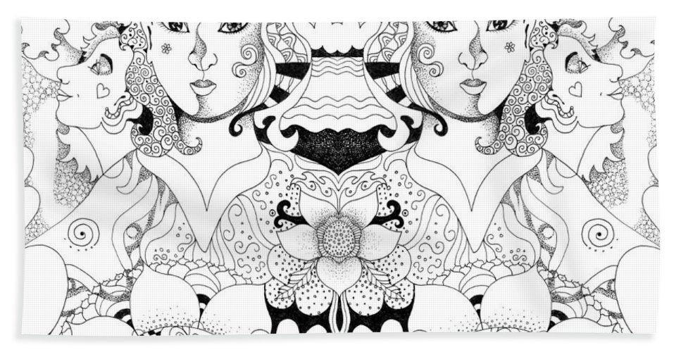 Imagine 3 By Helena Tiainen Bath Towel featuring the drawing Imagine 3 by Helena Tiainen