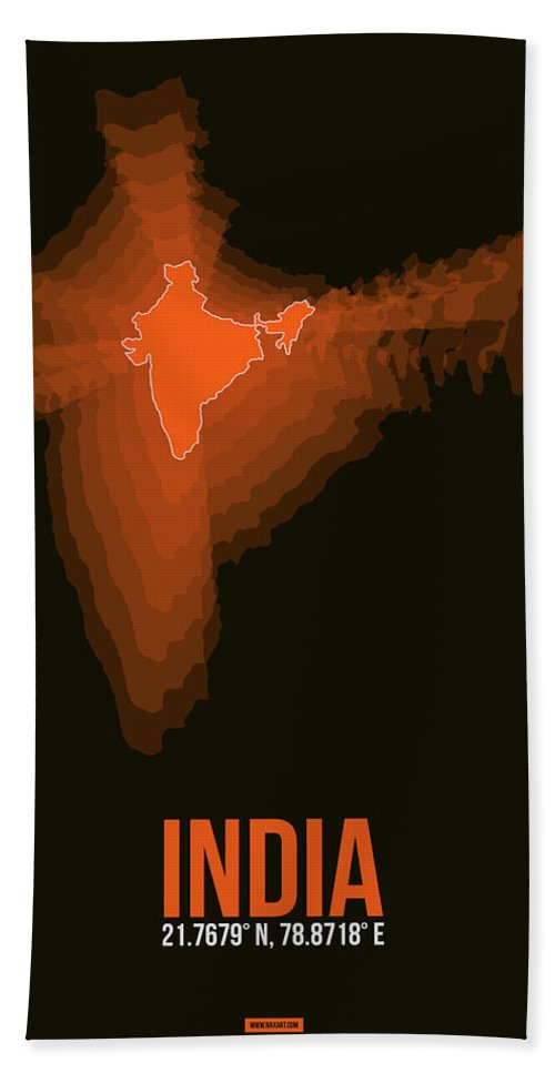 Map Of India Hand Towel featuring the digital art India Radiant Map 1 by Naxart Studio