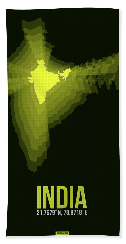 Map Of India Hand Towel featuring the digital art India Radiant Map 2 by Naxart Studio