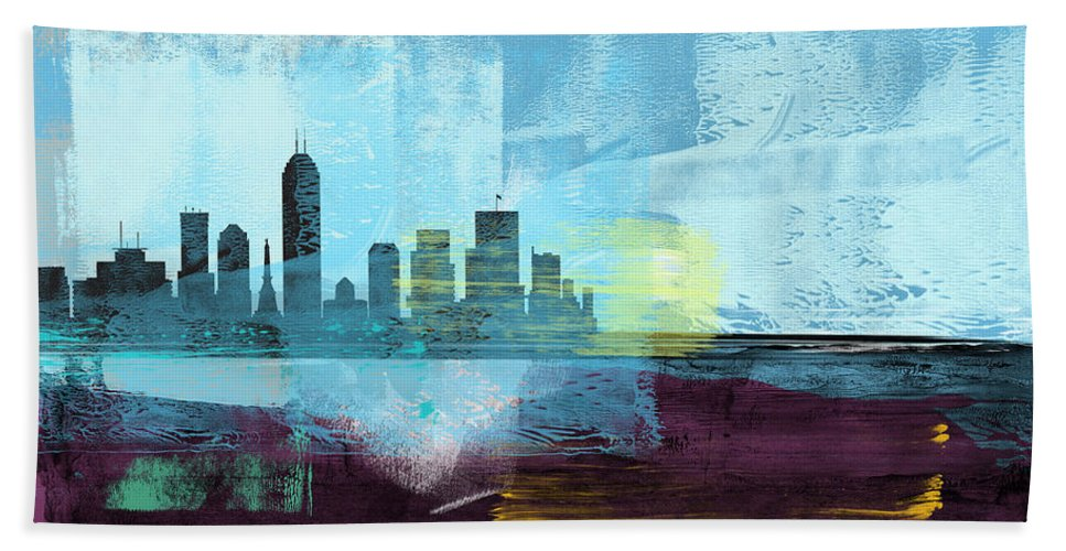 Indianapolis Hand Towel featuring the mixed media Indianapolis Abstract Skyline I by Naxart Studio
