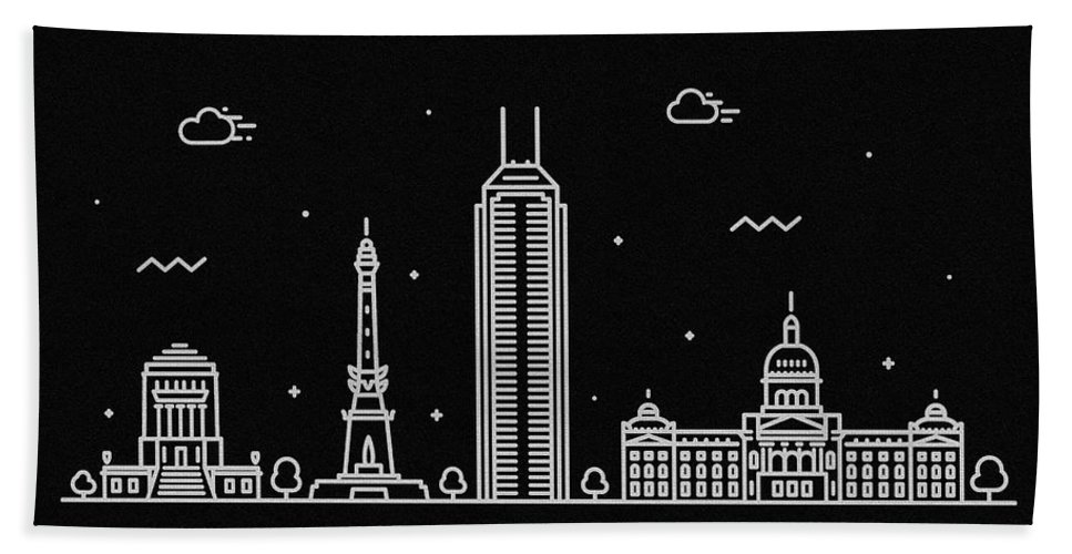 Indianapolis Bath Towel featuring the digital art Indianapolis Skyline Travel Poster by Inspirowl Design