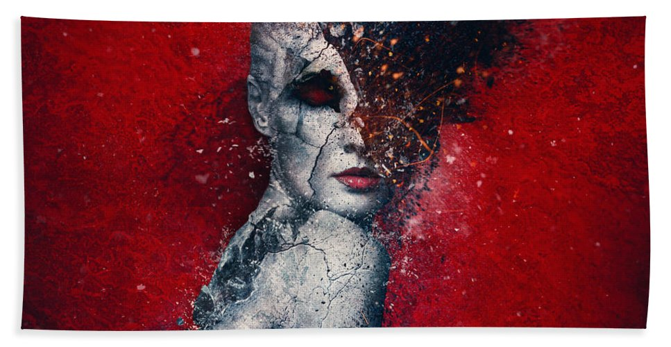 Red Bath Towel featuring the digital art Indifference by Mario Sanchez Nevado