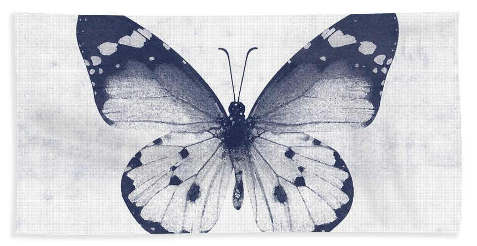 Butterfly Hand Towel featuring the mixed media Indigo and White Butterfly 1- Art by Linda Woods by Linda Woods