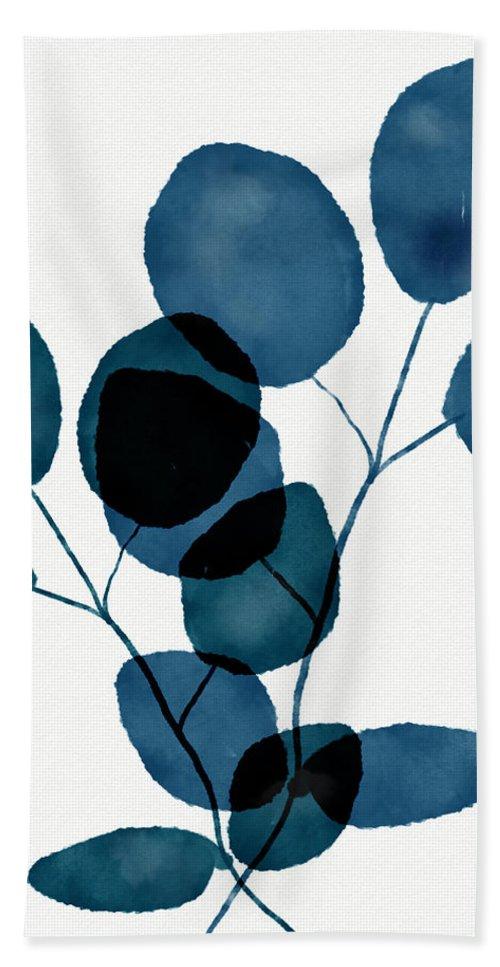 Botanical Bath Towel featuring the mixed media Indigo Eucalyptus 3- Art by Linda Woods by Linda Woods