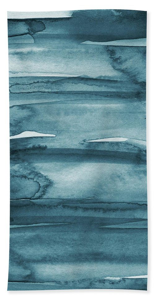 Coastal Bath Towel featuring the painting Indigo Water- abstract painting by Linda Woods