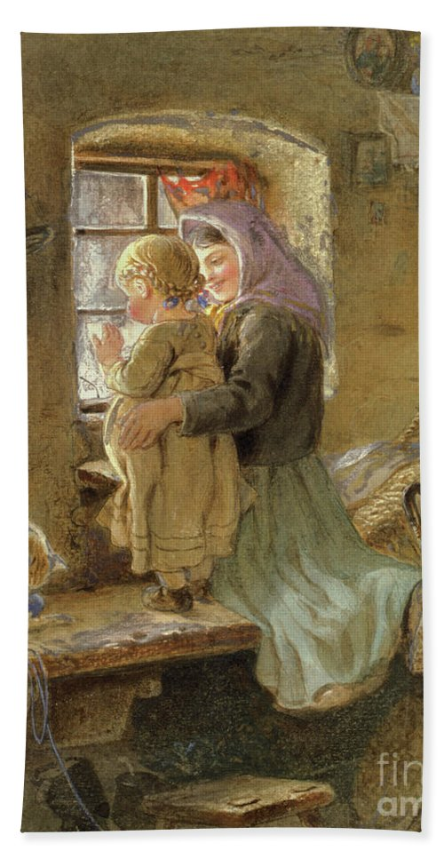 Mom Hand Towel featuring the painting Interior Peasant Girl And Child by C Goebel