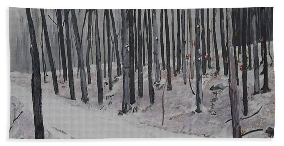 Landscape Hand Towel featuring the painting Into The Woods by Denise Morgan