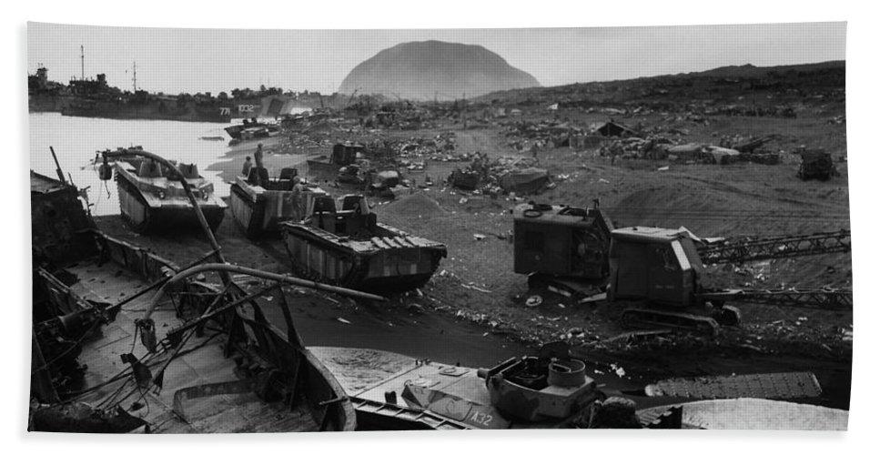 Iwo Jima Hand Towel featuring the photograph Iwo Jima Beach Destruction by War Is Hell Store