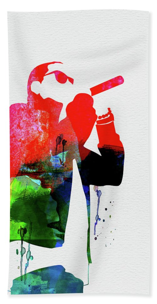 Jay-z Hand Towel featuring the mixed media Jay-z Watercolor by Naxart Studio