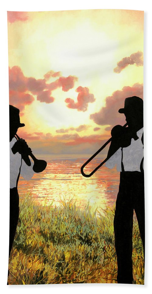 Jazz Hand Towel featuring the painting Jazz Al Tramonto by Guido Borelli